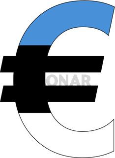 euro with flag of estonia
