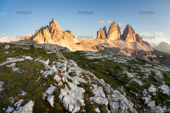 Tre Cime and Monte Paterno at sunset
