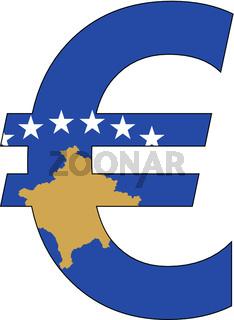 euro with flag of kosovo