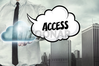 Access text on cloud computing theme with businessman