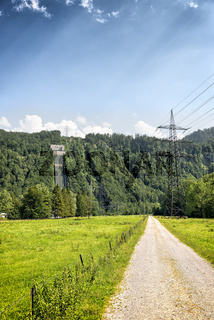 View to power plant at Kochelsee