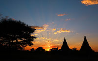 Silhouette of Temples and tree in Bagan at sunset