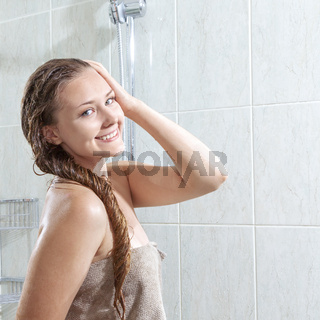 Young beautiful woman after shower