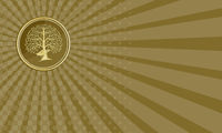Business card Deer Head Tree Antler Gold Coin Retro