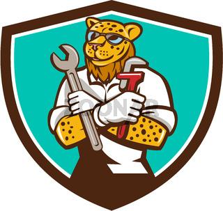 Leopard Mechanic Spanner Monkey Wrench Crest Cartoon