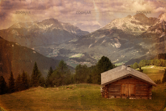Vintage style image of mountain valley