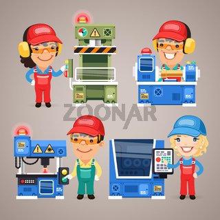 Set of Cartoon Workers Working on the Factory Machines