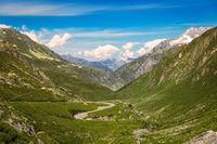 Winding pass road at Gotthard, Andermatt, Switzerland