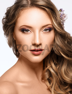 Portrait of Beautiful Woman Wedding Model on White Background