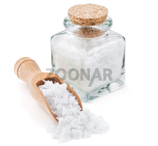 Cyprus sea salt flakes in a glass bottle
