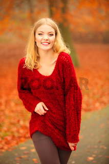 woman fashion girl relaxing in autumnal park