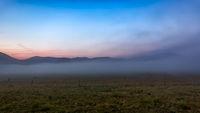 Morning fog at Piano Grande, Castelluccio, Umbria, Italy