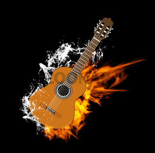 Vector Acoustic Guitar on Fire and Water Vector Acoustic Guitar on Fire and Water