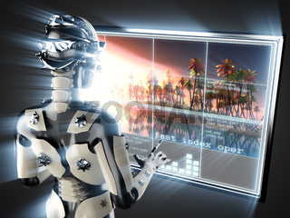 cyborg woman and island on hologram display