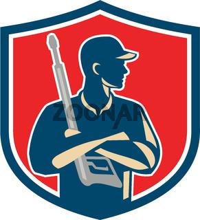 Power Washer Arms Crossed Pressure Washing Gun Crest Retro