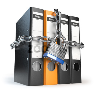 Data and privacy security. Information protection. File folder and chain with lock.