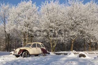 2CV im Schnee