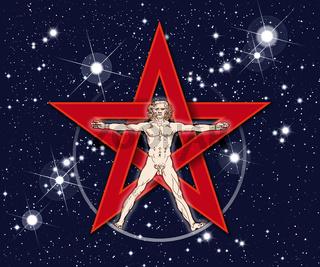 Vitruvianischer Mensch mit Pentagramm und Sternen