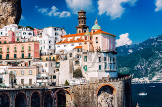 Ancient architecture of Atrani village. Amalfi Coast