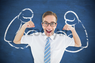 Composite image of geeky happy businessman flexing biceps
