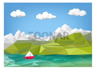 landscape illustration - mountain, lake and sailing boat low poly graphic