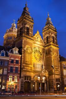 Saint Nicholas Church at Night in Amsterdam