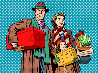Shopping happy family dad mom girl