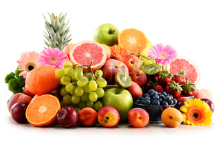 Composition with assorted fruits isolated on white background