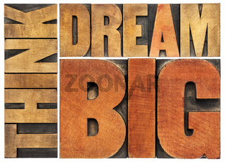 think and dream big word abstract
