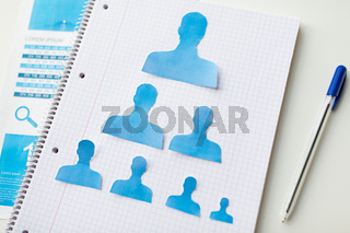 close up of paper human shapes on notebook