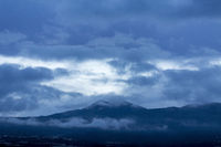 Blue cloudy dawn over mount Teide on Tenerife