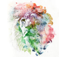 Watercolor painting of lion. Abstract, colorful art.