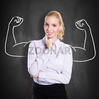 businesswoman with drawing symbolizing power