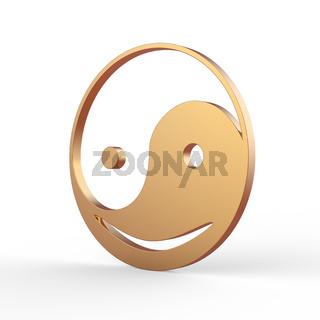 ying yang smiley symbol 3d image