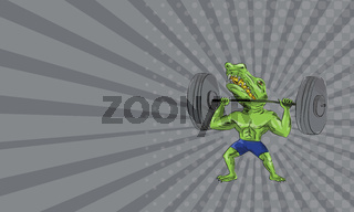 Business card Sobek Weightlifter Lifting Barbell Caricature