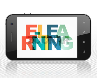 Learning concept: Smartphone with E-learning on  display