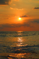 ropical sea sunset and waves