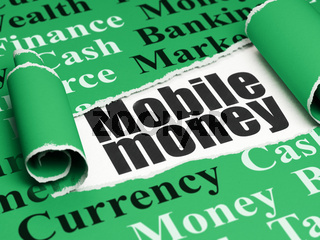 Banking concept: black text Mobile Money under the piece of  torn paper