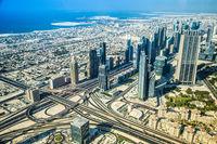 Dubai downtown. East, United Arab Emirates architecture. Aerial view