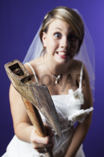 young bride with an axe