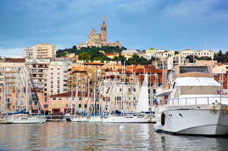 Marseille, France panorama, famous harbour.