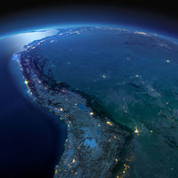 Detailed Earth. Bolivia, Peru, Brazil on a moonlit night