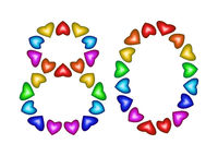 Number 80 made of multicolored hearts on white background
