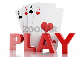 3d set of playing cards. Isolated white background