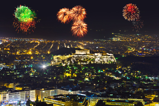 Fireworks in Athens Greece
