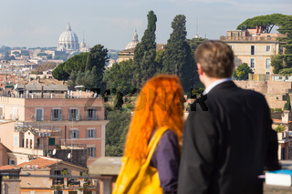 Middle aged couple in Rome.