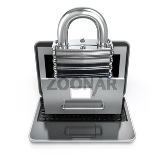 Data security concept. Laptop, archive and lock.