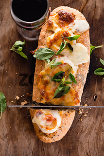 pizza baguette with mozzarella