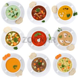 Collage Suppe Suppen Tomatensuppe Gemüse Gemüsesuppe Freisteller von oben
