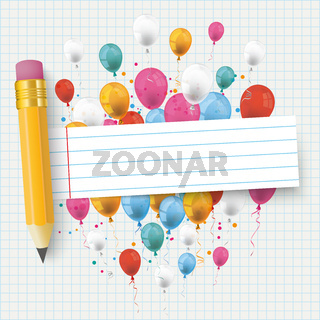 Checked Paper Balloons Striped Banner Pencil PiAd